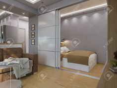 3d Illustration Living Room And Bedroom Interior Design. Modern.. Stock Photo, Picture And Royalty Free Image. Image 57693962.