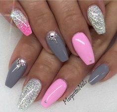 Pink and Gray Coffin Nail Design