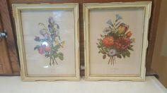 Jean Louis Prevost Framed Floral Prints, Set of 2, Botanical, Bouquet of Flowers, Antique Cream Frames, JL Prevost, French Country Modern