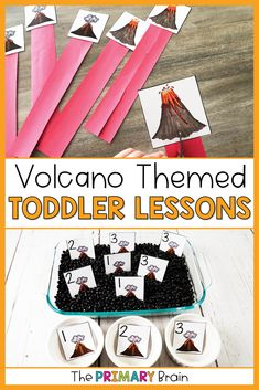 Volcano toddler activities teach 2 to 3 year old children math, science, art, fine motor, and gross motor skills. Volcano math activities for toddlers. Volcano toddler curriculum includes five toddler lesson plans that give you everything you need to teach your children homeschool preschool. Volcano toddler sensory bins are also included. Math Activities For Toddlers, Lesson Plans For Toddlers, Math For Kids, Literacy Activities, Toddler Sensory Bins, Toddler Play, Gross Motor, Fine Motor, Curriculum