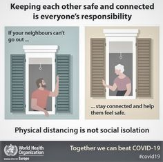 """""""Physical distancing is not social isolation, together we can beat a message by World Health Organization supported by World Organizations, Your Neighbors, World Health Organization, Health Trends, Together We Can, Health Goals, Physics, Gucci, Twitter"""