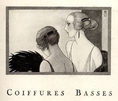 coiffures basses advertisement, 1920s, showing long hair with back comb.