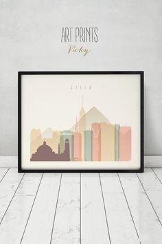 Cairo print, Poster, Wall art, Egypt cityscape, Cairo skyline, City poster, Typography art, Gift, Home Decor Digital Print, ART PRINTS VICKY