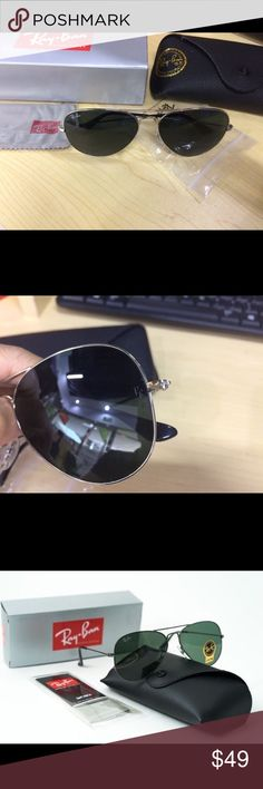RB aviators sunglasses RB aviators sunglasses  Dark green lenses  62mm 100% authentic brand new and no scratches  Fast shipping and delivery quickly Accessories
