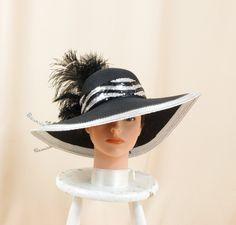 ca1fc905a3c Silver and Black Hat   Kentucky Derby Hat   Church Hat   Ascot Hat   Floppy  Hat   Wide Brim Hat   Formal Hat   Fashion Hat   Derby Hat