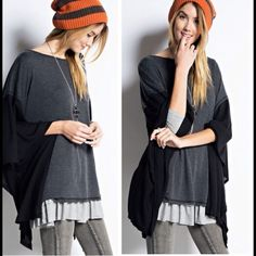 Oversized Poncho Top Color block poncho top.  Features charcoal gray center and black sides. Loose, oversized fit. Price is FIRM unless bundled. Tops