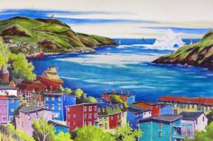"""Art prints from original paintings by Newfoundland Artist Keli-Ann Pye-Beshara. This painting has almost everything that is """"St. John's"""" including The Battery. Landscape Tattoo, Landscape Paintings, Lynda Barry, Newfoundland And Labrador, Painting Lessons, Local Artists, Stretched Canvas Prints, Fine Art Prints, Original Paintings"""