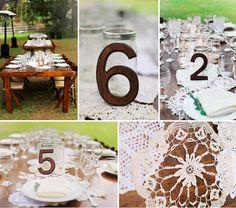 Deko: Tischnummern + Häkeltischdecken