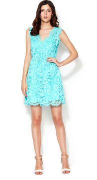 Calvin Klein Lace Dress - with Front Ruching on shopstyle.com
