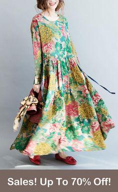 Limited Stock! Pefect Spring Floral Dress Long Linen Dresses, Long Summer Dresses, Plus Size Maxi Dresses, Fall Dresses, Cotton Dresses, Plus Size Outfits, Casual Dresses, Cotton Long Dress, Maxi Robes