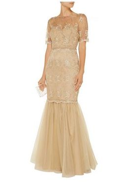 Badgley Mischka Embellished tulle gown Gold embroidery, sheer yoke, boned bodice, blush crystal and bead embellishments, fully lined Button-fastening keyhole at back, concealed zip fastening along back