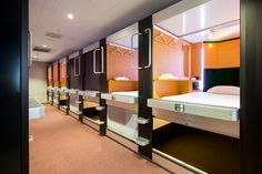 THE LODGE MOIWA 834 Capsule hotel Tiny Spaces, Small Rooms, Lofts, Sleep Box, Ideas Dormitorios, Spaceship Interior, Capsule Hotel, Industrial Office Design, Dormitory