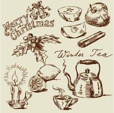 Hand drawn vintage food Illustrations vector 05