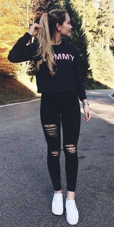 Jugendkleidung 37 Most Trending Spring Teenage Outfits Ideas - Teenager Outfits, Teenager Mode, Teenage Girl Outfits, Teen Fashion Outfits, Fall Outfits, Black Outfits, Celebrity Outfits, Fashion Ideas, Celebrity Style