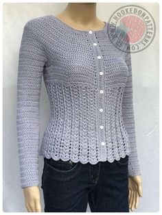 Crochet pattern for a beautiful, fitted, long sleeved cardigan.