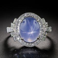 Raymond Yard one of America's most-celebrated 20th century jewelers - Art Deco Blue Star Sapphire and Diamond Ring - $10,750