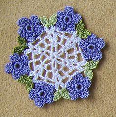 "Dollhouse Miniature Centerpiece Lilac Purple Flowers Doily 2"" Hand Crocheted"
