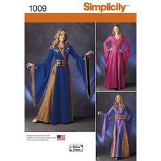 Simplicity Pattern 1009 Misses' Fantasy Costumes (Circe - easily made into a dress with separate underskirt)