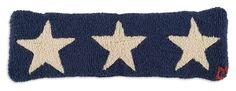 """8"""" x 24"""" Blue Star Trilogy, hand hooked wool horizon pillow, Chandler 4 Corners, Manchester VT"""