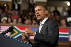 """Barack Obama has told African leaders to stop """"making excuses"""" for ongoing economic problems in their countries, and to look for solutions within rather than blaming the past."""