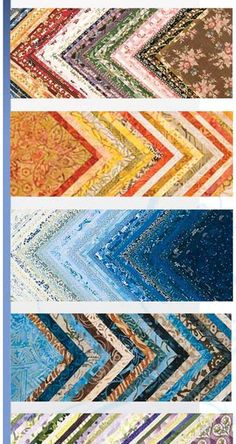 charm packs arranged in a chevron -- love the shades of blue