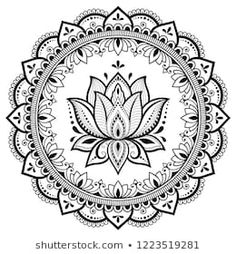 Circular pattern in form of mandala with lotus flower for Henna, Mehndi, tattoo, decoration. Decorative ornament in ethnic oriental style. Coloring book page. Mandala Art, Mandala Design, Mandala Lotus Flower, Mandala Drawing, Mandala Painting, Mandala Pattern, Mandala Tattoo, Tatoo Henna, Henna Mehndi