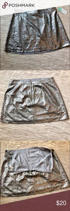 Decree Silver sequin mini-skirt NWT Beautiful sequin mini skirt.  Silver sequin with zip closure in the back. New with tag Decree Skirts A-Line or Full