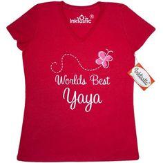 Inktastic Worlds Best Yaya Women's V-Neck T-Shirt Grandma Family Gift Grandmother Grandparents Clothing Apparel Tees Adult Hws, Size: XXL, True Red