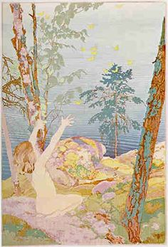 Walter J. Phillips (1884-1963)Summer Idyll, 1926woodcut on paper (edition: 100)55.4 x 30.8 cmThis print was completed in July of 1926. It required the cutting of more than twelve different blocks, and bears witness to Phillips' confidence and mastery of the colour woodcut medium. But Phillips admitted to having made two attempts at it. The first attempt was scrapped in total since he was not completely satisfied with the registration. The second attempt is one of his greatest ...