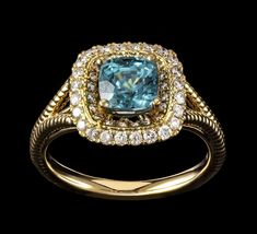 Blue Zircon Cushion Solitaire with Diamonds Solid Yellow Gold Ring. Jewelry Rings, Fine Jewelry, Unique Jewelry, Cushion Solitaire, Engagement Bands, Blue Zircon, Yellow Gold Rings, Heart Ring, Diamonds