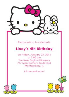 Hello Kitty Birthday Invitations Printable Free Invitation - Free hello kitty birthday invitation templates