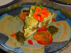 organic,local fresh vegetable frittata with housemade pesto