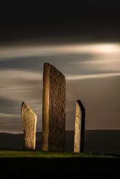 """Stones of Stenness, Britain  A Neolithic Monument in Orkney, Scotland dating from around 3000 B.C. Stenness, the Ring of Brodgar and newly discovered """"Ness of Brodgar"""" form the heart of Neolithic Orkney World Heritage Site."""