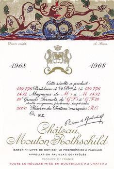 "1968 Chateau Mouton-Rothschild label by Bona Tibertelli. #Wine / It is worth comparing her voluptuous ""She-Ram"" for the 1968 Mouton Rothschild label with Léonor Fini's design for the 1952 vintage."