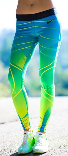 Would you like to wear this colored legging during your workout? #fashion #nike