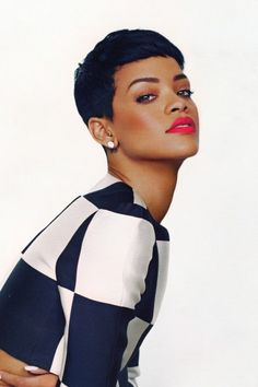 Rihanna is one of those celebrities that just looks amazing no matter her length but we find she really stands out from the rest when she goes extra short like this beautiful short clean black pixie cut.