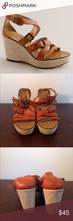 J. Crew leather wedges size 7 J. Crew leather wedges size 7. Leather upper and a suede like bottom. Some wear as seen in pictures J. Crew Shoes Wedges
