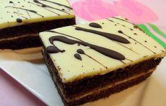 Kakaové těsto, mléčná nádivka a na vrchu chutný marcipán pokapaný čokoládou. Hotová delikatesa. Mňamka! Phyllo Dough, Czech Recipes, Pastry Cake, Nutella, Cheesecake, Pie, Baking, Sweet, Food