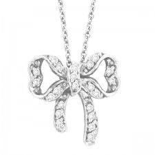 Morris & David - Diamond Bow Pendant Necklace