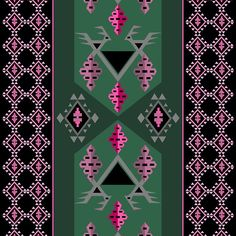 Birds and grapes green and pink kilim pattern. Boho chic surface pattern, cheerful, ethnic style design. Nostalgic, charming pattern in soft colors. Fusion of original balkan kilim pattern and modern pattern trends.