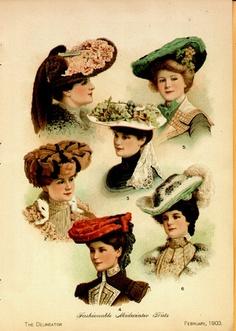 1903 Ladies Hats Color Delineator Original Vintage Magazine Print 1900s  Fashion 9d7ccb34c13
