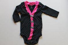 Baby Girl Cardigan Onesie  black onesie baby girl by BeesBabyTs, $25.00