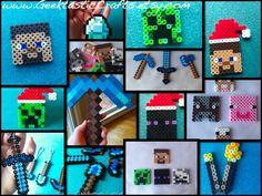 Perler Bead Minecraft Mob Set: Steve, Skeleton, Creeper, Enderman, Zombie. $6.49, via Etsy.