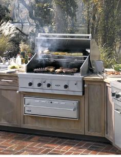 There are many options for outdoor cooking.  One is to install a built-in cooktop into a delineated outdoor kitchen.  This can be complimented with other appliances, including a rotisserie, a refrigerator, a wine chiller, etc.  Refer to the Outdoor Kitchen board for other options.