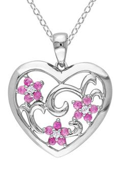 Sterling Silver Pink Sapphire & Diamond Heart Pendant Necklace on HauteLook