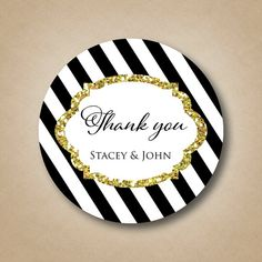 Black and White Striped Sticker Gold Glitter by StickEmUpLabels