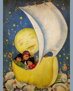 Wynken Blynken and Nod illustration. Vintage Children's Books, Vintage Art, Vintage Moon, Vintage Nursery, Munier, Good Night Moon, Moon Art, Looks Vintage, Children's Book Illustration
