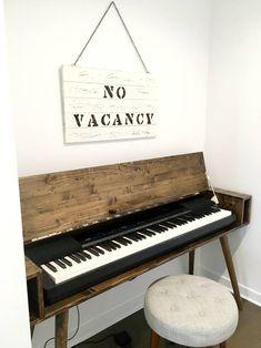 Mid Century Keyboard Stand Piano Stand | Etsy Piano Table, Piano Desk, Piano Room, Electric Piano Keyboard, Keyboard Piano, Custom Furniture, Wood Furniture, Furniture Makeover, Ideas Habitaciones