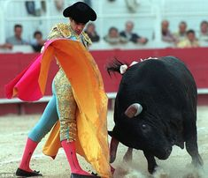 El matador es Joselito, Joselito es el mejor matador en la historia de España. Los matadores lleva un traje de luces y una capa especial.