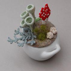 Woodland whimsy crochet lichen miniature ornament fiber por elinart